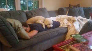 """Yep, the caregiver and the caregivers' caregiver are going to be """"dog-tired"""" at some point, and they'll just need to sleep when and where they can! (pun intended!)"""